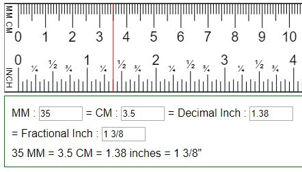 Convert Mm Cm To Fraction Or Decimal Inches In Mm Cm
