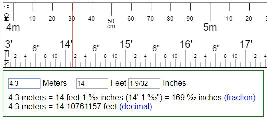 Convert Meters To Feet Inches Or Reversion Ft In M