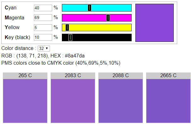 Cmyk To Pantone Find Pms Colors Close To Cmyk Color