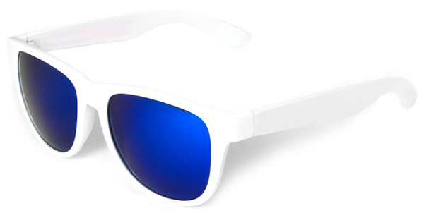 white frame temple sunglasses with blue lens - White Frame Sunglasses