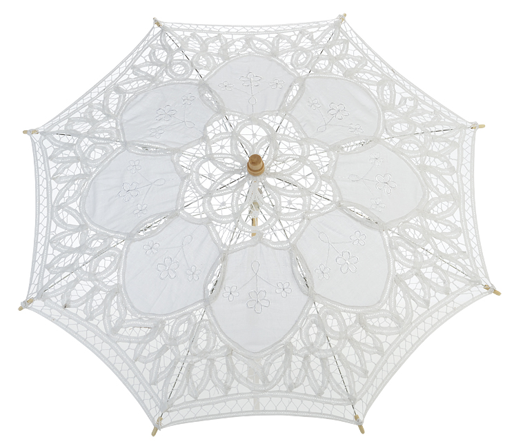 "22/"" White Lace Parasol Umbrella Lace"
