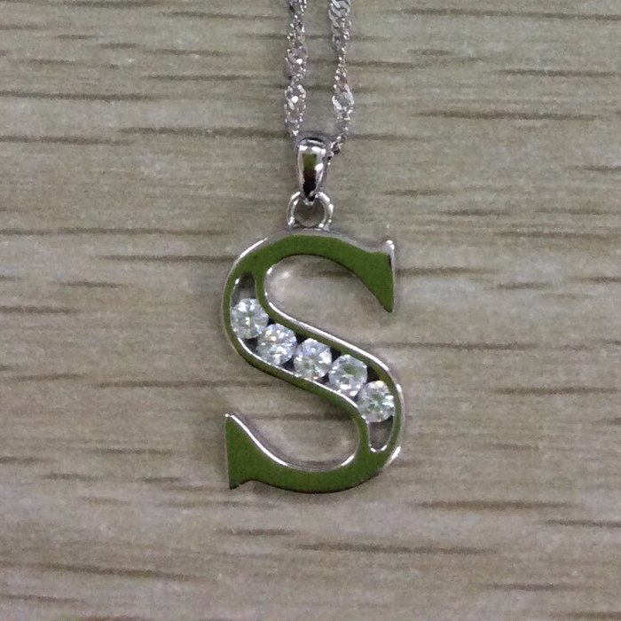 stering silver necklace initial letter